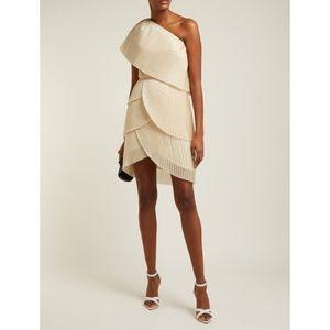 Aje Blythe Asymmetrical Pleated Mini Dress